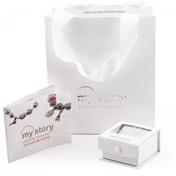 Anel em Prata com Pedra Redonda Branca - Coleção My Story - AN18037